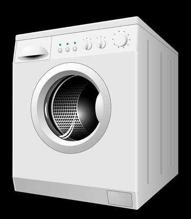 appliance: Vector illustration of new white washing machine isolated on black background