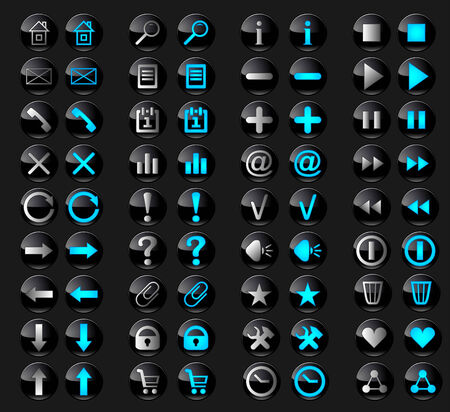 inactive: Set of stylish black glass buttons with web icons in active and inactive state. Illustration