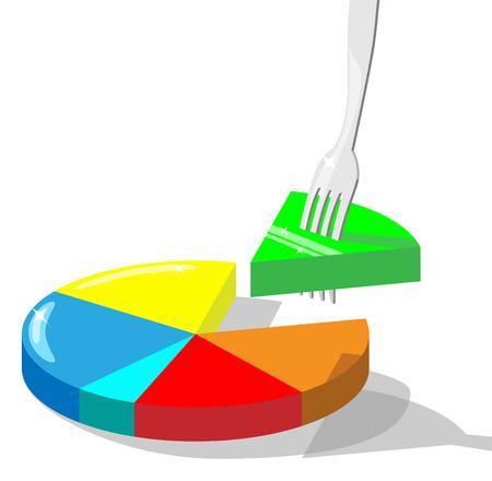 initiatives: Concept vector illustration symbolizing taking market  share. Section of diagram stuck on a fork. Illustration