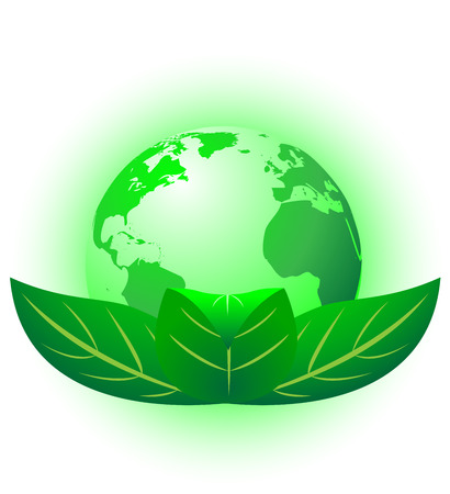 Environmental protection concept vector illustration.  Planet wrapped in green leaves. Illustration