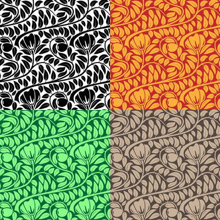 Seamless floral leaf wallpaper in four color schemes. Vector