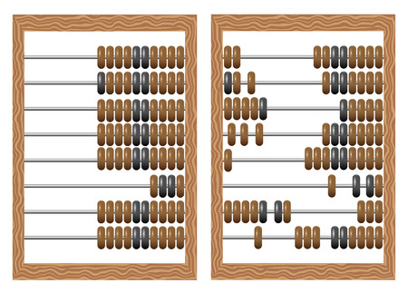 subtract: Vector illustration of old-fashioned  wooden abacus isolated on white background