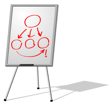 Vector illustration of presentation  whiteboard on tripod isolated on white background Vector