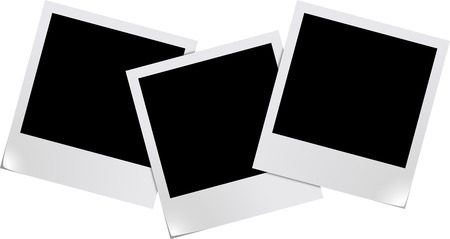 recollection: Three blank photo frames isolated on white background