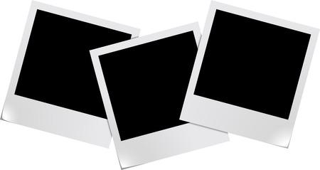 Tres marcos de fotos en blanco sobre fondo blanco aisladas Vectores