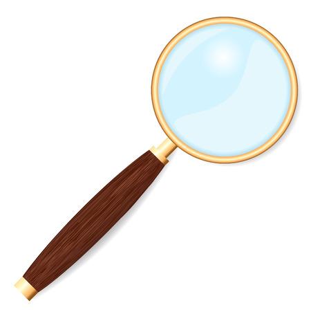 cerchione: Lente d'ingrandimento con cerchio d'oro e manico in legno isolato su sfondo bianco