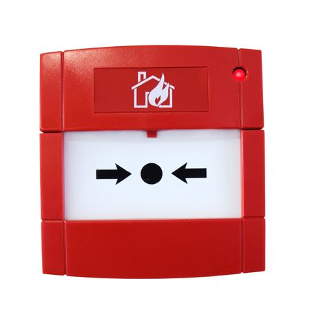 Wall-mounted fire alarm isolated on white background photo