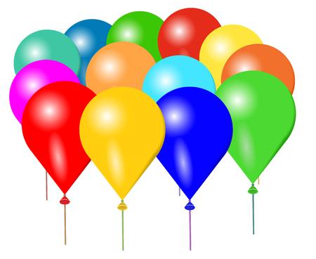 Illustrazione vettoriale di palloncini colorati su sfondo bianco.