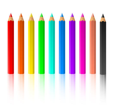 Row of standing color pencils isolated on white background Vector