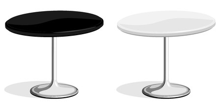 Vector illustration of black and white coffee shop table isolated on white background. No gradients or effects is used.
