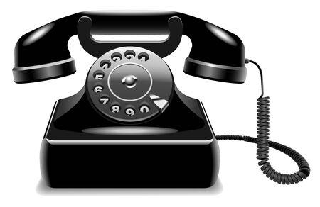 Ilustraci�n vectorial de realista anticuado tel�fono negro sobre fondo blanco aisladas. Vectores