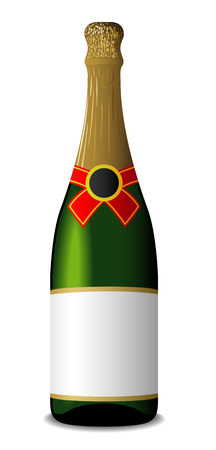 corked: Vector illustration of sealed blank champagne bottle isolated on white background