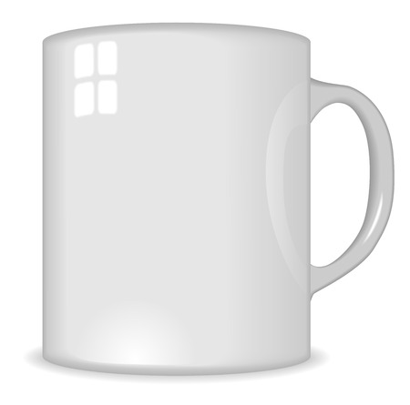 Vector illustration of blank traditional white ceramic cup isolated on white background. Illustrator blend tool is used. Vector