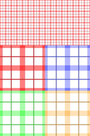Tablecloth texture-checked fabric seamless vector pattern in four color schemes Vector