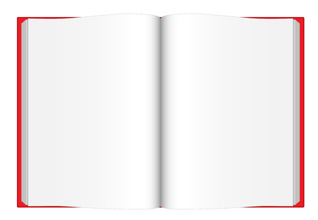 content page: Vector illustration of opened blank book with red cover viewed from top isolated on white background. Illustration