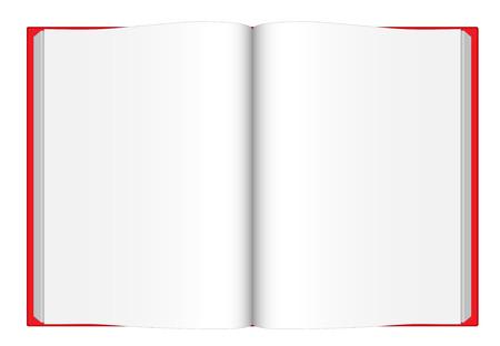 Vector ilustraci�n de apertura libro en blanco con rojo cubrir visto desde arriba aislados en fondo blanco.
