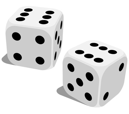 Vector illustration of white dice with double six roll. No gradients of effects. Illustration