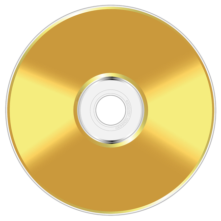 Realistic vector illustration of golden compact disc isolated on white background. Vector