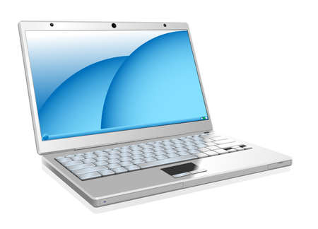 Vector illustration of working white laptop isolated on white background. Stock Vector - 5203240