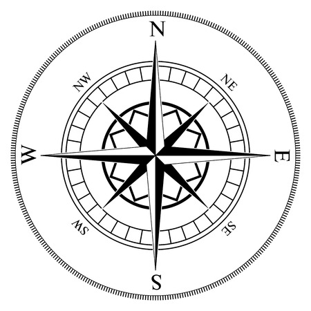 windrose: Compass winds rose black and white vector shape.