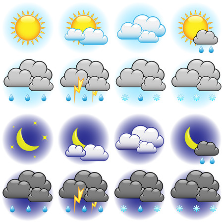 Weather vector icons set isolated on white background. Vector