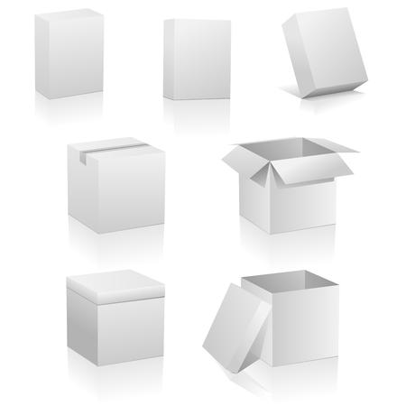 Vector set van lege dozen geïsoleerd op witte achtergrond.