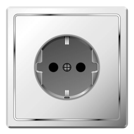 earthing: Realistic vector image of white electric wall outlet isolated on white background. Illustration
