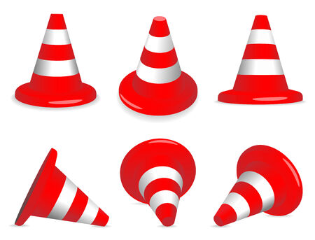 Set of red and white standing and fallen traffic-cones. Vector