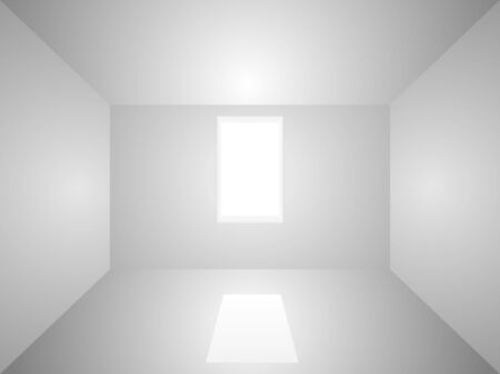 light room: Empty room illuminated with light from window. Illustration