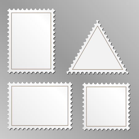 Vector serie de sellos postales en blanco aisladas sobre fondo gris