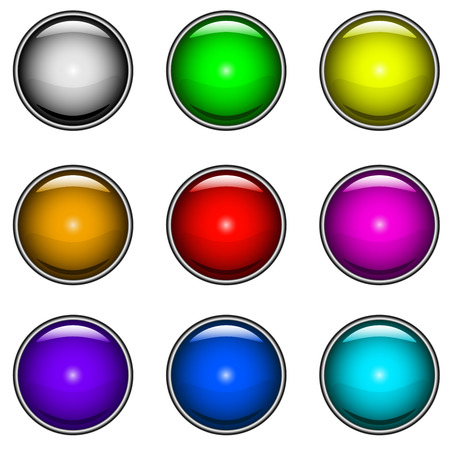 Vector collection of colorful glossy buttons for web design. Stock Vector - 5328341