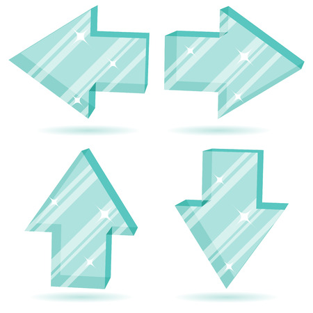 Vector set of 3D glass arrows pointing four directions. Stock Vector - 5328340