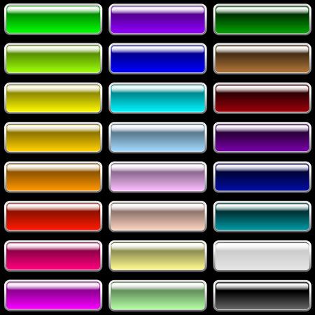 buttons: Vector set di pulsanti glossy rettangolare multicolori per il web design.