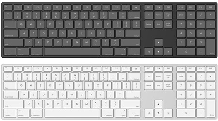 Vector illustration of modern computer keyboard in white and black color. Vector