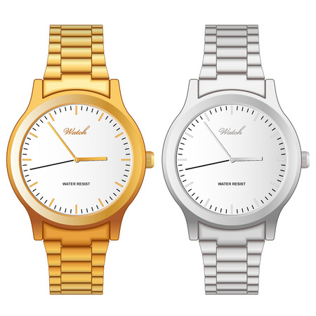 wristwatch: Vector illustration of classic golden and steel wristwatch isolated on white background.