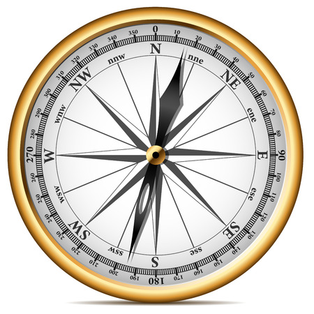 nautical map: Vector illustration of realistic golden compass isolated on white background.