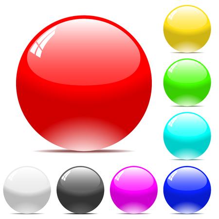Bolas de vector varicolored aislados sobre fondo blanco.