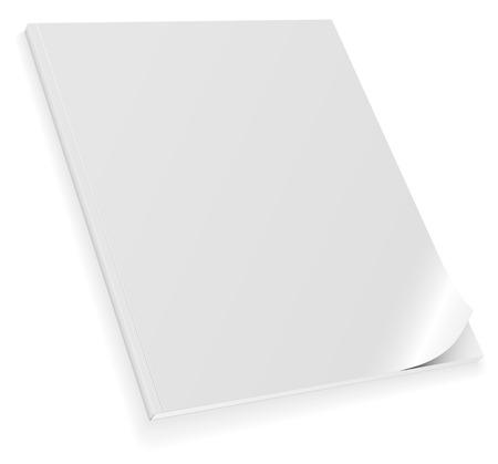 paper curl: Vector ilustraci�n de la revista en blanco cerrado con tapa enroscada aisladas sobre fondo blanco. Vectores