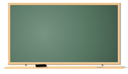 Vector illustration of green clean classroom blackboard isolated on white background. Vector