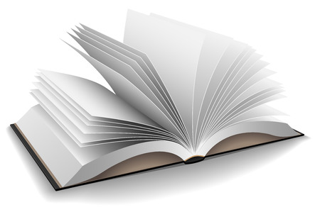 hard cover: Vector illustration of opened book with hard black cover isolated on white background.