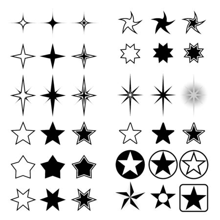 Vector collection of stars isolated on white background.