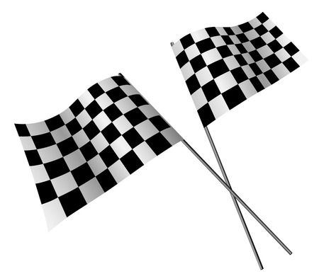 checked flag: Crossed racing flags isolated on white background.