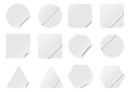 Blank white stickers isolated on white background.