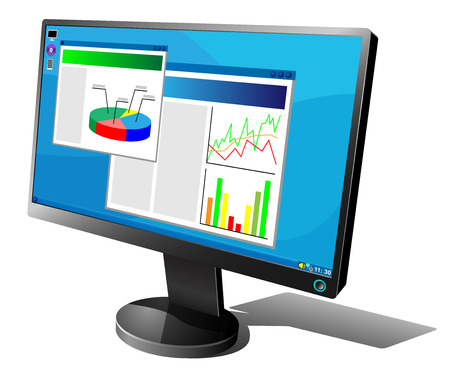 Black LCD monitor with graphs on the screen isolated on white background. Stock Vector - 5406160