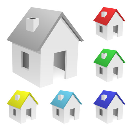 Conjunto de vector de pequeñas casas con techos de varicolored aislados sobre fondo blanco.