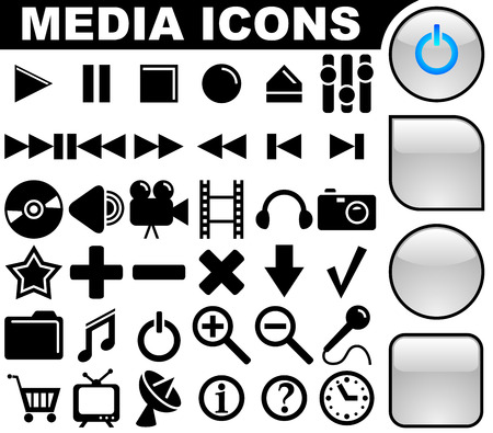 variants: Media vector icons collection with 3 buttons variants isolated on white background.