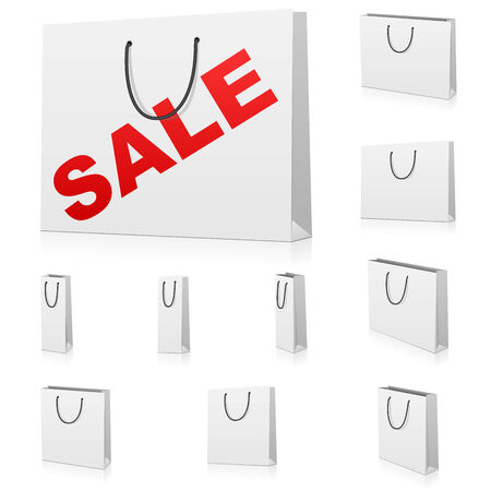 Vector set of blank paper shopping bags isolated on white background. Three kinds of bags are represented: standard bag, wide bag and bottle bag.