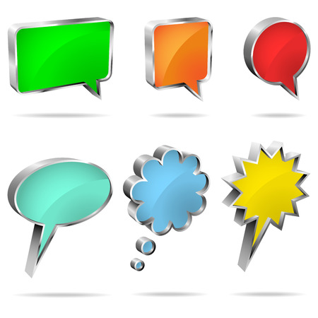 Vector set of 3D speech and thought bubbles isolated on white background. Vector