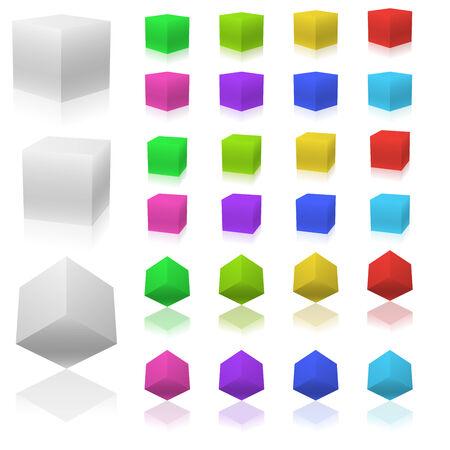 Conjunto de vector de cubos de color 3D aislados sobre fondo blanco.