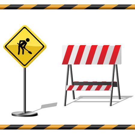 Under construction vector template with warning road sign, barrier and seamless striped tubes. Vector